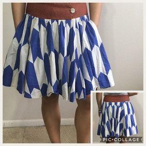 fei thattaway blue full skirt with pockets midi
